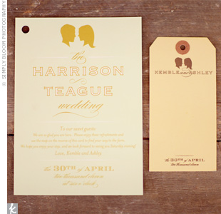 Ashley's sister, a designer with Chocolate Butterbean, created the invitation suite with the couple's silhouettes as a running theme.