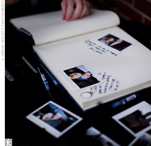 Autographed Polaroid pictures let guests have some fun and personalize their messages for the bride and groom.