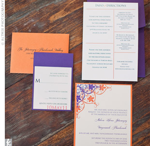 The invitation suite's ornate design in rich plum and tangerine gave guests a preview of the wedding style.