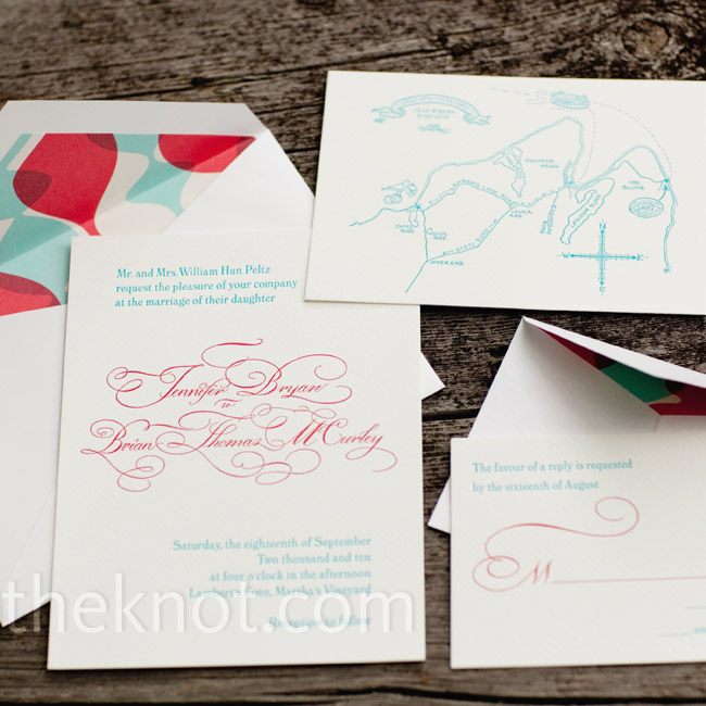 The couple chose bright red and turquoise invitations.
