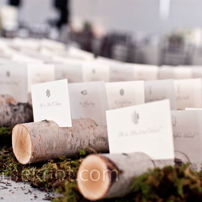 The simple escort cards were set in slits on birch logs resting atop a bed of moss.