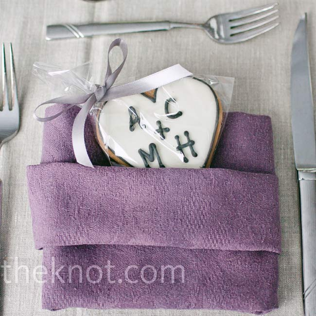 Monogrammed cookies (the favors) were tucked into lilac napkins at each seat.