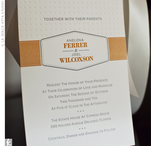The groom designed the invitations to incorporate a vintage-but-modern feel.