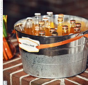 Orange soda kept guests cool and fit in with the days orange color palette.