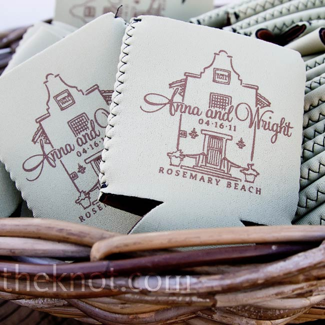 Custom koozies with an image of the town hall were given as favors to guests.