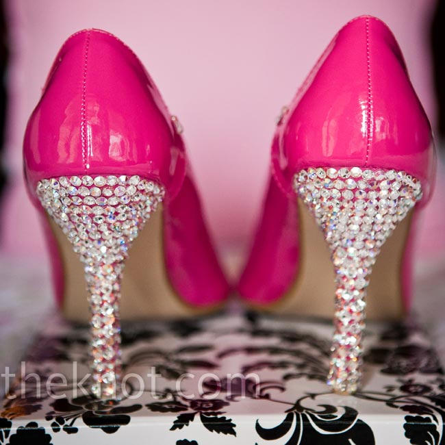 Scarlett's hot-pink heels with crystal embellishments were custom-made for her.