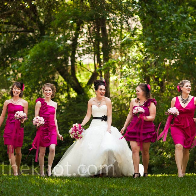 Each bridesmaid picked out her own dress using a color swatch provided by the bride.