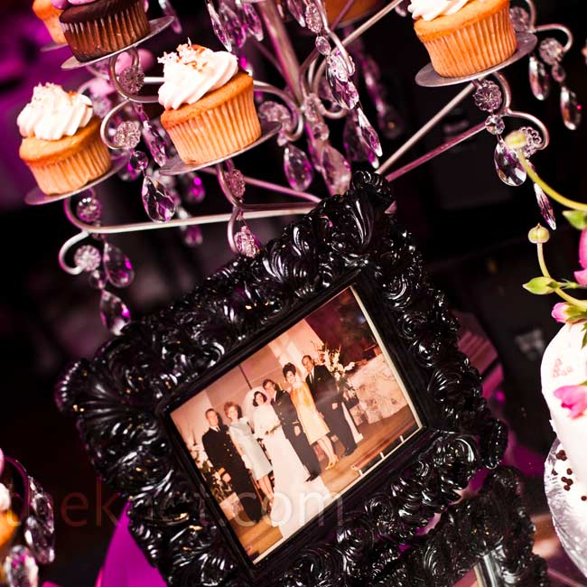 Instead of wedding cake, the two served an array of cupcakes on crystal stands.