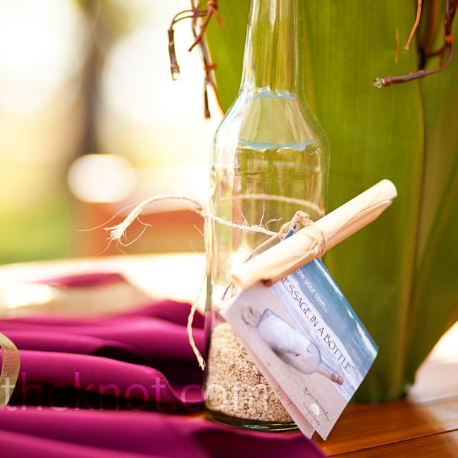 "Guests could write the couple a ""message in a bottle"" and toss it into a nearby pond."