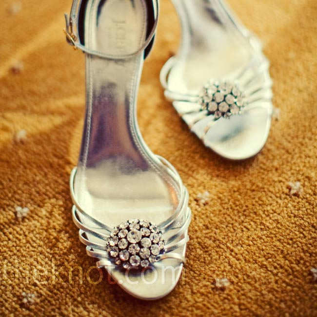 Adina's silver heels from J. Crew were accented with rhinestones that matched the beading on her dress.