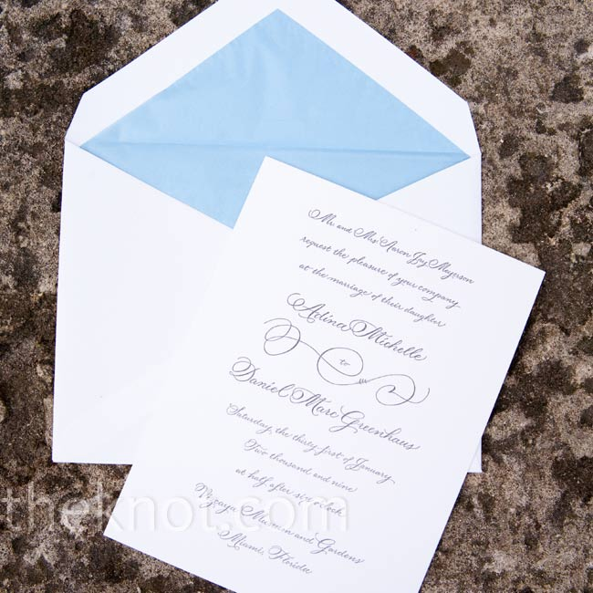 A calligrapher created the couple's custom letterpress invites.