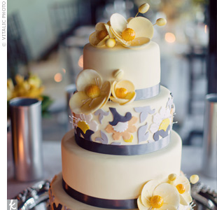 Yellow and Gray Cake