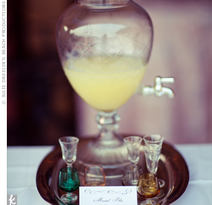The couple served their signature drink, Marital Bliss, in tiny stemmed shot glasses. The secret ingredient? Authentic limoncello.