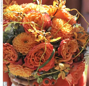Tylers bouquet was made up of orange Mokara orchids, garden roses and dahlias with accents of curly willow.