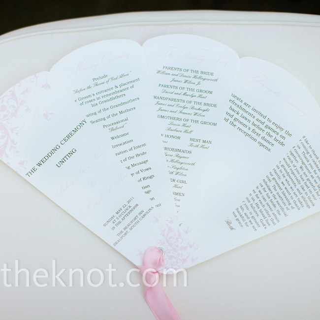 The program fans were perfect for the outdoor ceremony. A pink satin ribbon added a touch of color to the simple white cardstock.