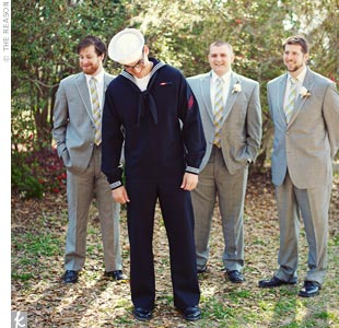 Matthew stood out in his Navy dress blues while the groomsmen wore gray tuxes with yellow and gray plaid ties.