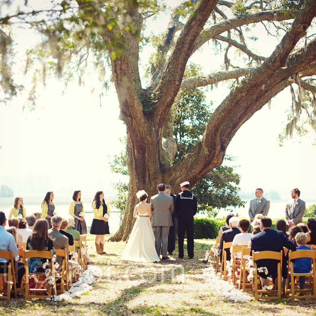 Bonnie and Matthew exchanged vows under a spreading oak tree overlooking the Stono River.