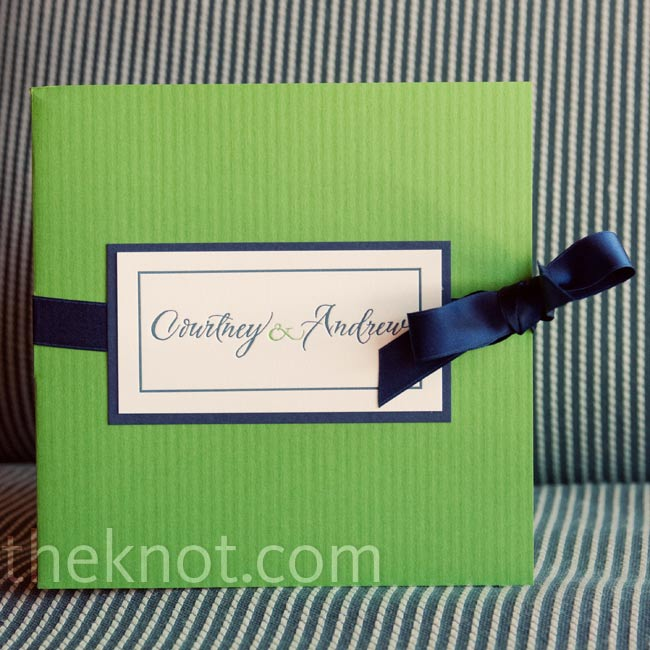 A ribbon-tied into a bow (Courtney's favorite part) decorated the front of the couple's pocket invitations.
