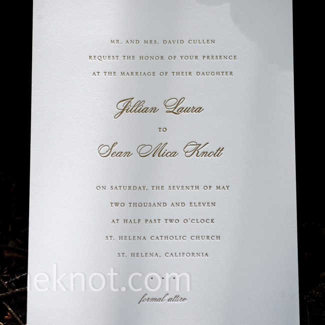 Jillian and Sean are both traditional, so they kept their invitations simple and classic.