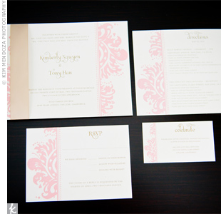 A pale pink damask-style design gave the invitation suite a formal look.
