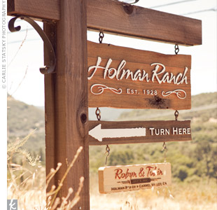 Holman Ranch makes personalized welcome signs for each couple who gets married there.