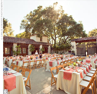 Long banquet tables were set up for dinner on the ranch's outdoor patio.