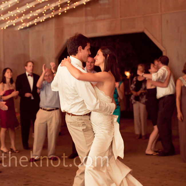 "Robyn and Tobin took swing lessons for their first dance to ""Beyond the Sea"" by Bobby Darin."
