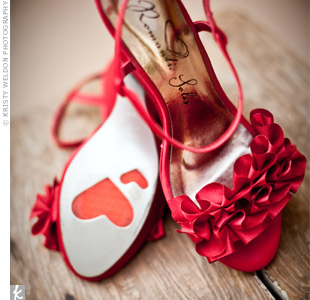 Bright red shoes with a ruffle accent perfectly fit Eileen's Mexican-inspired wedding day look.