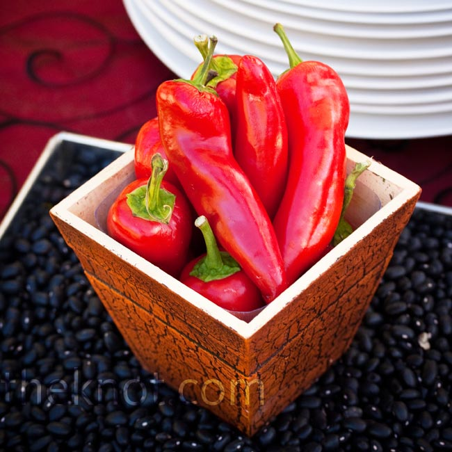 "Whole red chili peppers made for perfect décor at the ""make your own carnita taco"" station."