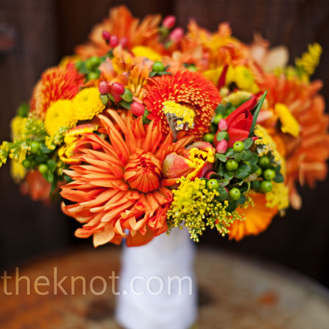 All of the bouquets were made of orange, red and yellow flowers including dahlias and zinnias.