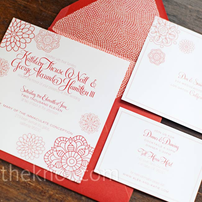 Katie's friend, a graphic designer, custom-made the invitations with envelopes purchased from Paper Source.