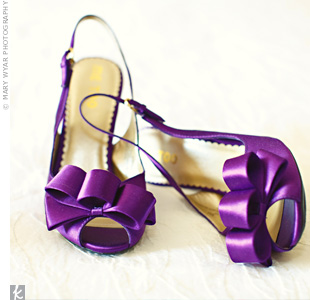 Emily found shoes in the perfect shade of purple to match the wedding colors.
