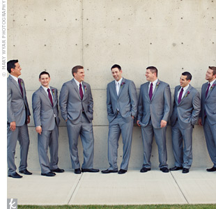 For a contemporary look, the guys all wore pale gray suits. Nate's silver tie stood out among his groomsmen's purple ones.