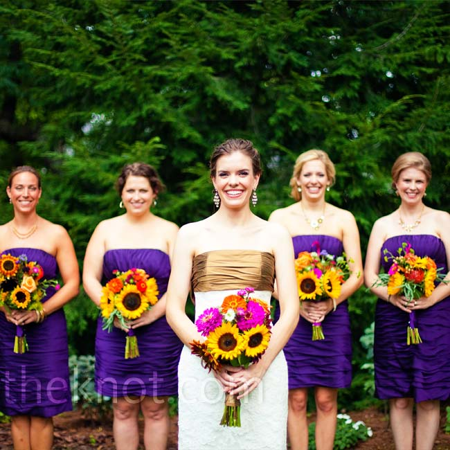 A deep-eggplant color made the girls' simple strapless dresses really pop.