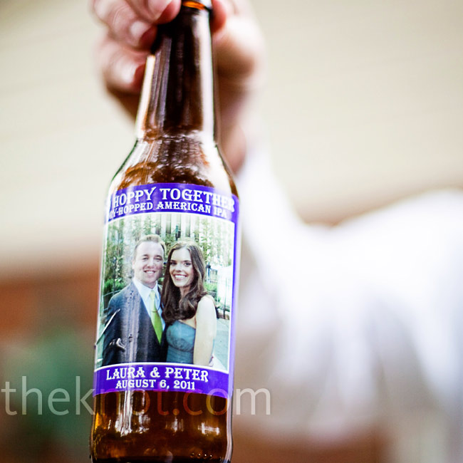 "Peter loves craft beer, so the couple brewed their own ale and made personalized labels that read, ""So Hoppy Together."""