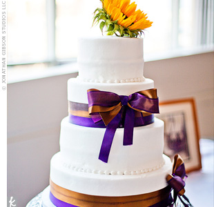 Bronze and Purple Ribbon Cake