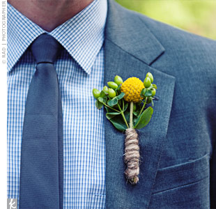 Craspedia and Berry Boutonniere