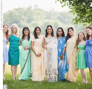 Instead of having a formal bridal party, Mukti just asked close female friends and family to wear their own spring-colored dresses that would look great together in photos.