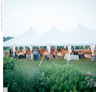 The party took place beneath an open-sided tent in the French House's backyard.