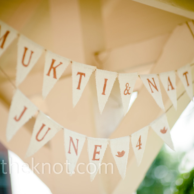 Mukti cut out lots of burlap triangles and stenciled on letters to create festive bunting banners.