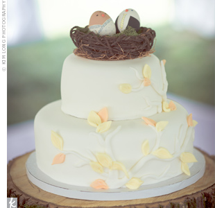 The couple's favorite part of the cake was the topper: Nat made it by twisting cord to form a bird's nest and painting two ceramic eggs.