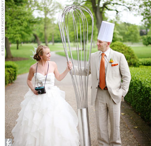 Anne and John posed for photos with this huge whisk, which also made an interesting d&#233;cor piece at the cocktail hour.