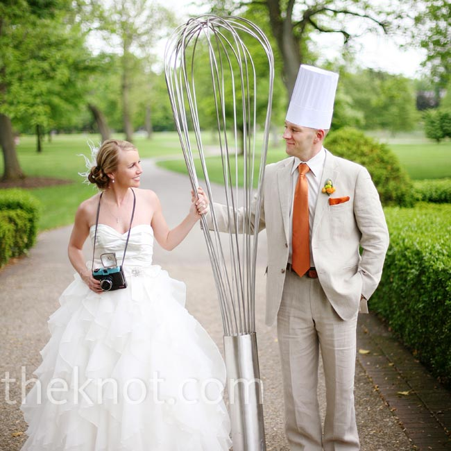 Anne and John posed for photos with this huge whisk, which also made an interesting décor piece at the cocktail hour.