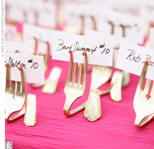 Twisted vintage forks held the escort cards—a fun way to play up the food theme.