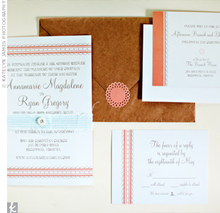 Cream invitations with coral stripes were wrapped in  blue seersucker belly bands for a, handcrafted look.