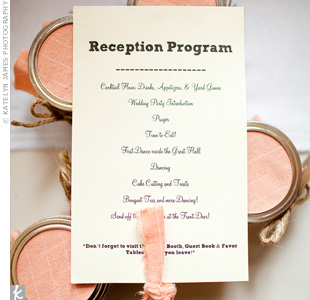 White card stock accented with peach fabric gave guests the order of events for the garden reception.