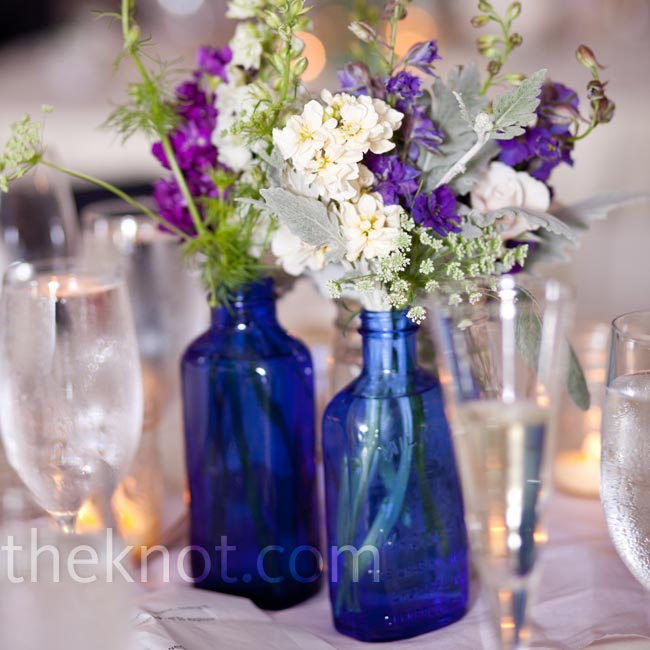 Shaun, an amateur bottle digger, provided the unique vintage glassware for the centerpieces—he dug each and every piece out of the ground.
