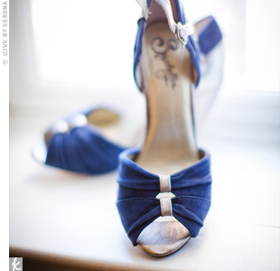 Shannon chose her navy and gold heels for their retro style and comfortable stacked heels.