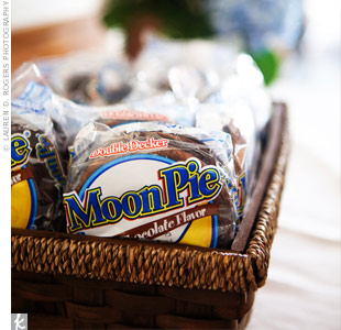 Early in their relationship, Brad introduced Abby to Moonpies. A basket of the sweet treats was set out for guests to grab on their way home.