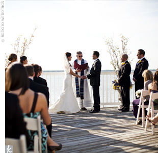 The venue's deck, which overlooked the bay, made the perfect ceremony spot.